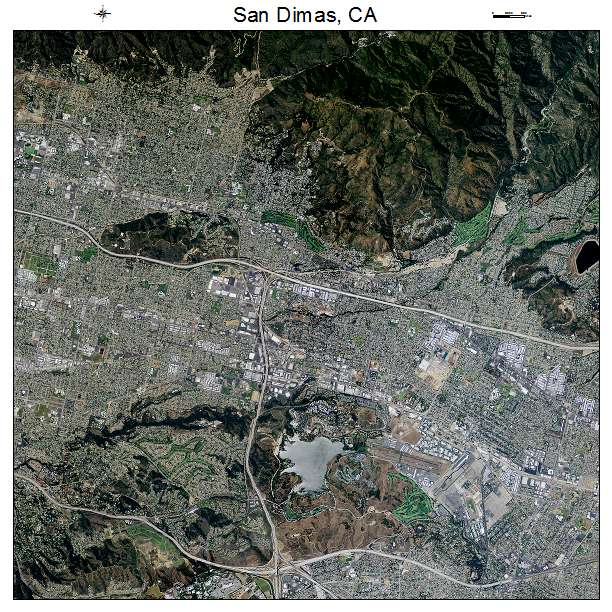 San Dimas, CA air photo map