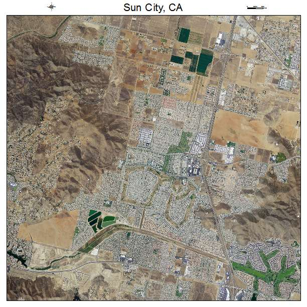 Aerial Photography Map Of Sun City Ca California