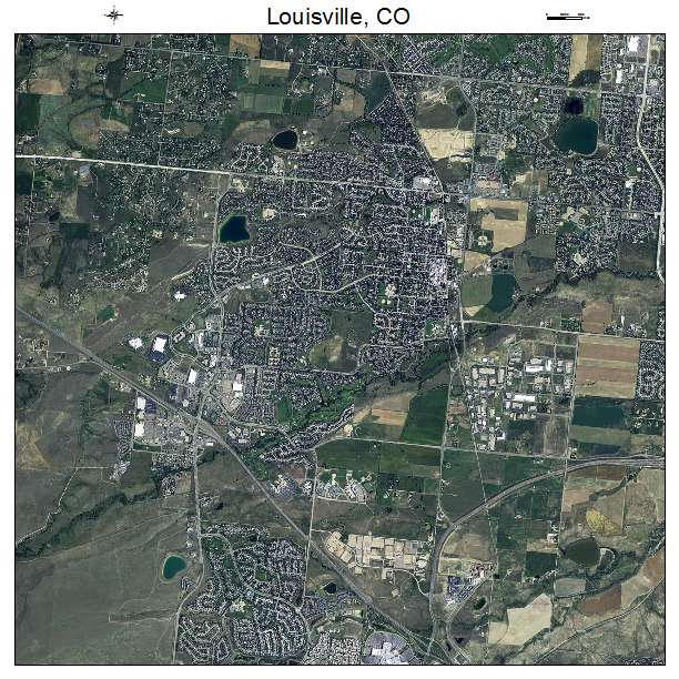 Aerial Photography Map of Louisville CO Colorado