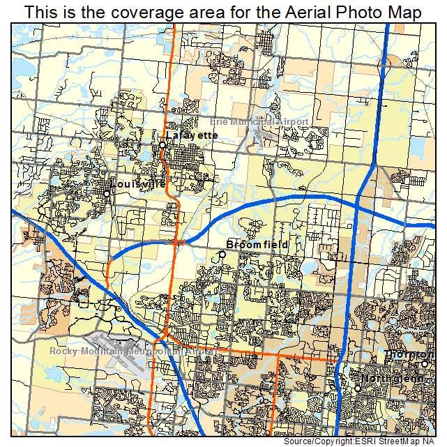 Aerial Photography Map of Broomfield, CO Colorado