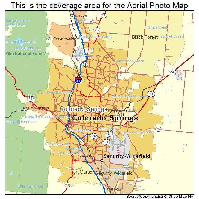 Aerial Photography Map of Colorado Springs CO Colorado