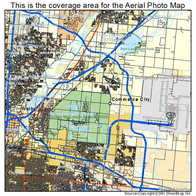 Commerce Colorado Map Aerial Photography Map of Commerce City, CO Colorado