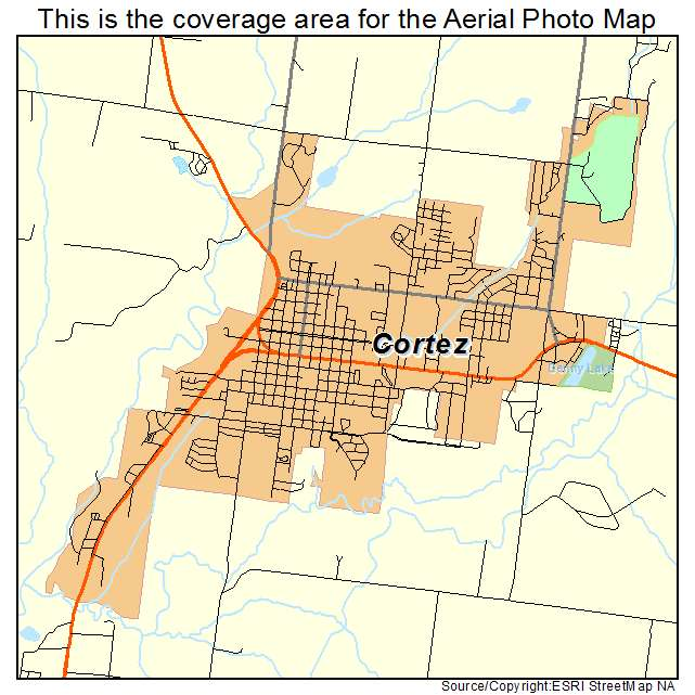 Aerial Photography Map Of Cortez CO Colorado