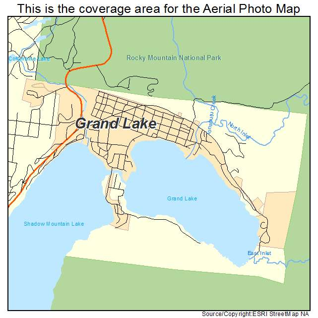 Aerial Photography Map Of Grand Lake CO Colorado