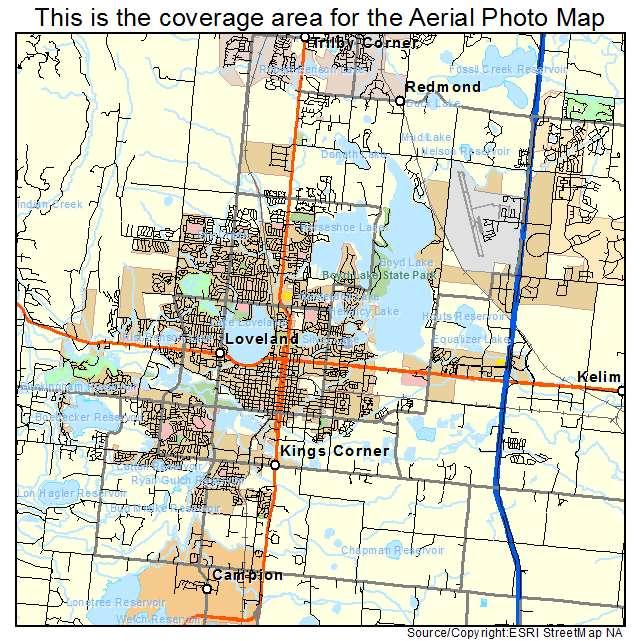 Loveland, CO Colorado Aerial Photography Map 2015