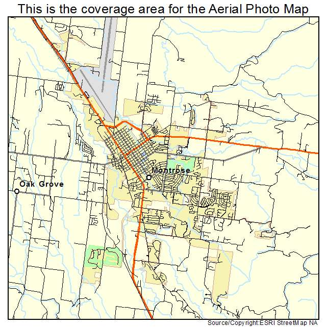 Aerial Photography Map of Montrose, CO Colorado