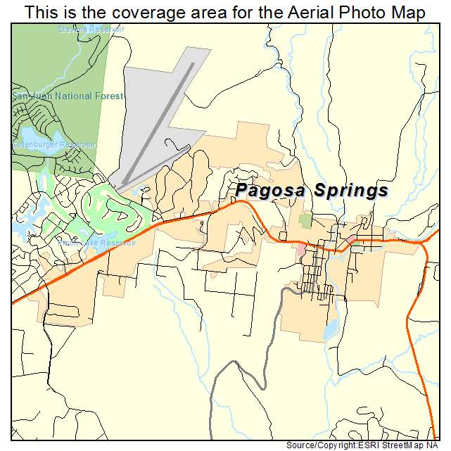 Aerial graphy Map of Pagosa Springs CO Colorado