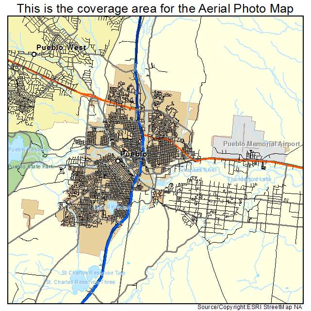 Aerial Photography Map of Pueblo, CO Colorado