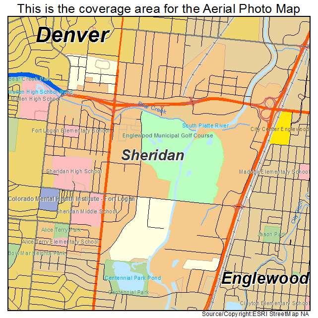 Sheridan Colorado Map.Aerial Photography Map Of Sheridan Co Colorado