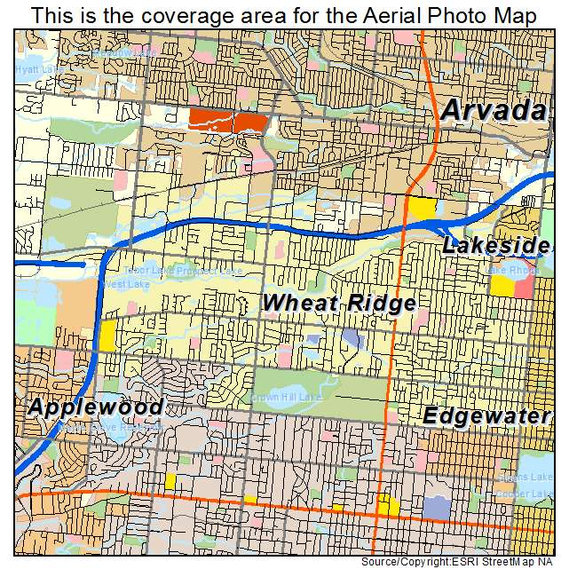 Aerial Photography Map of Wheat Ridge, CO Colorado