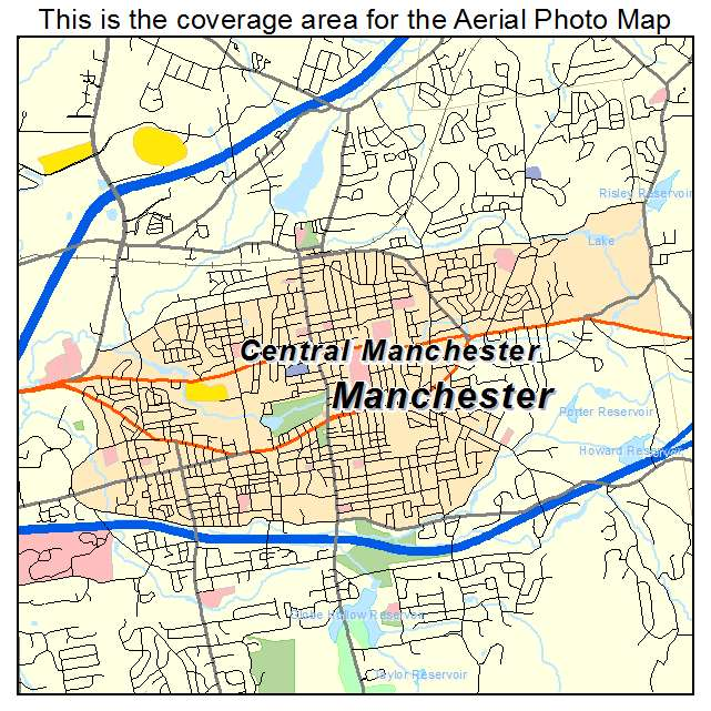 Aerial Photography Map Of Central Manchester CT Connecticut