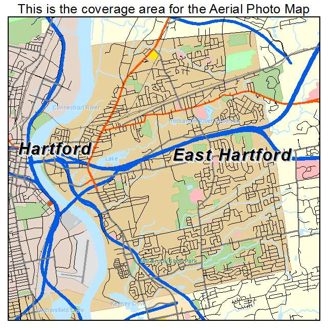 Aerial Photography Map of East Hartford CT Connecticut