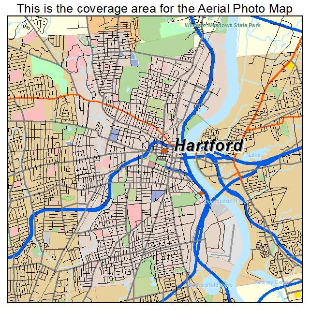 Aerial Photography Map of Hartford CT Connecticut