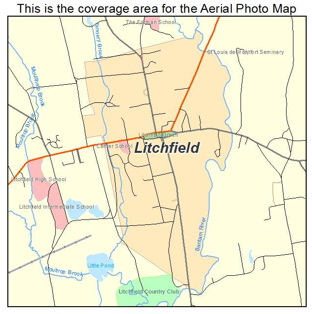 Aerial Photography Map of Litchfield, CT Connecticut
