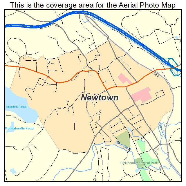 Aerial Photography Map Of Newtown CT Connecticut