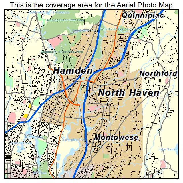 Aerial Photography Map of North Haven CT Connecticut