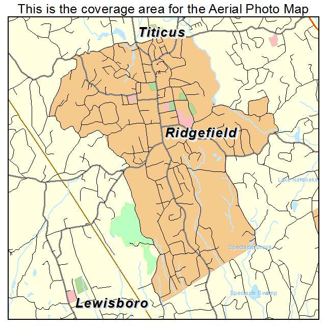 Aerial Photography Map of Ridgefield, CT Connecticut