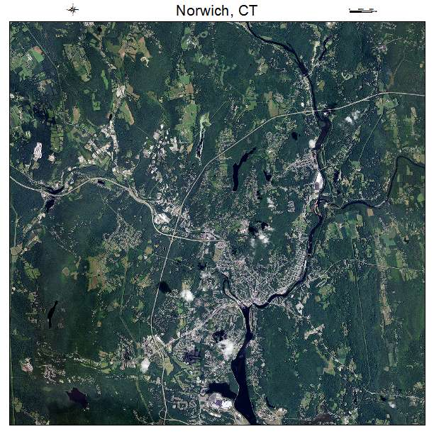 Aerial Photography Map Of Norwich CT Connecticut