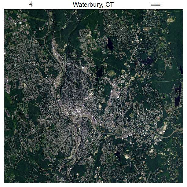 Waterbury, CT air photo map
