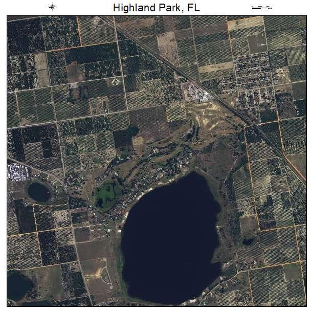 Aerial Photography Map Of Highland Park, FL Florida