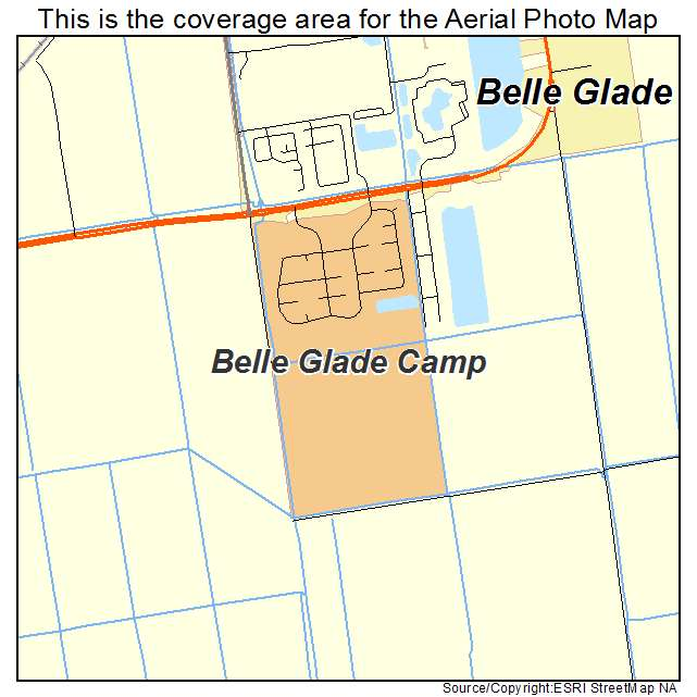 Aerial Photography Map Of Belle Glade Camp FL Florida