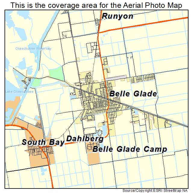 Aerial Photography Map Of Belle Glade FL Florida