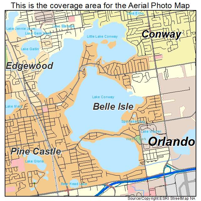Aerial Photography Map of Belle Isle, FL Florida