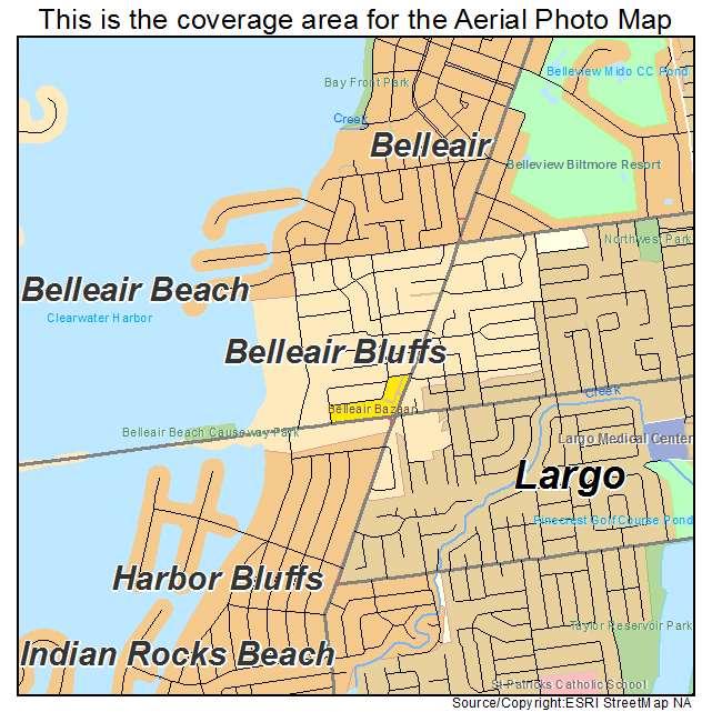 Aerial Photography Map Of Belleair Bluffs Fl Florida