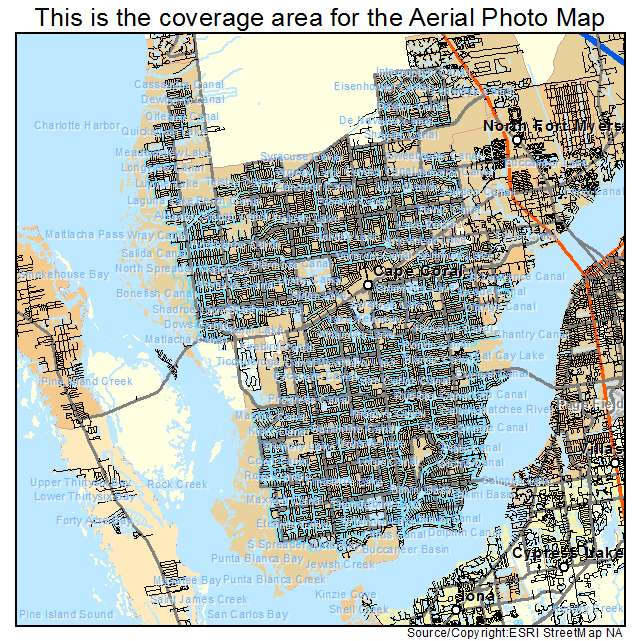 Aerial Photography Map of Cape Coral FL Florida