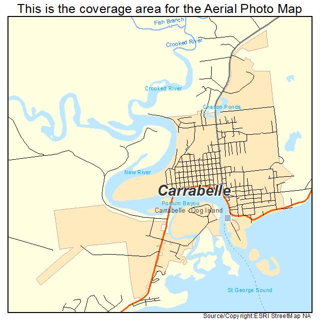 aerial photography map of carrabelle fl florida