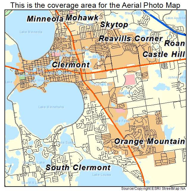Aerial graphy Map of Clermont FL Florida