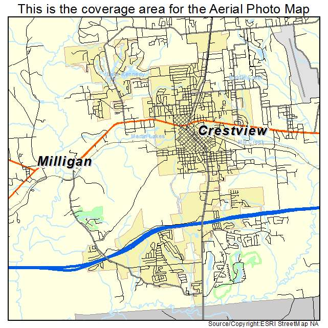 Crestview Florida Map.Aerial Photography Map Of Crestview Fl Florida