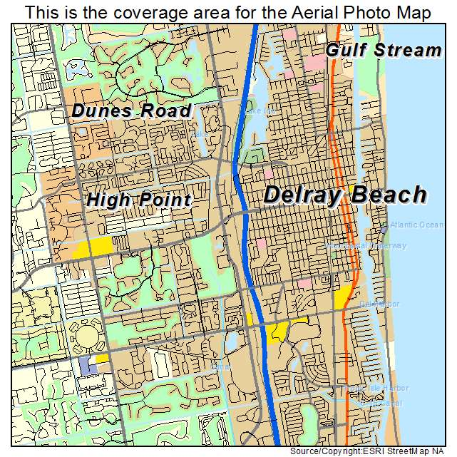 Map Of Delray Beach Florida Aerial Photography Map of Delray Beach, FL Florida