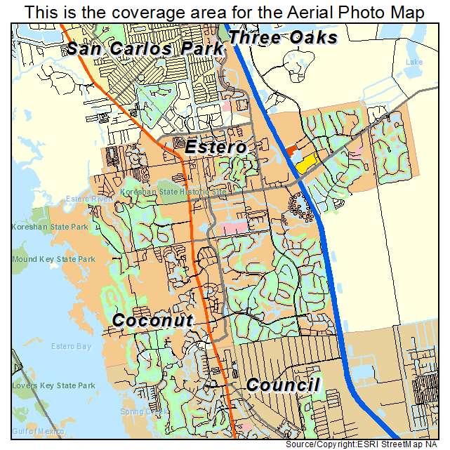 Map Of Estero Florida Aerial Photography Map of Estero, FL Florida