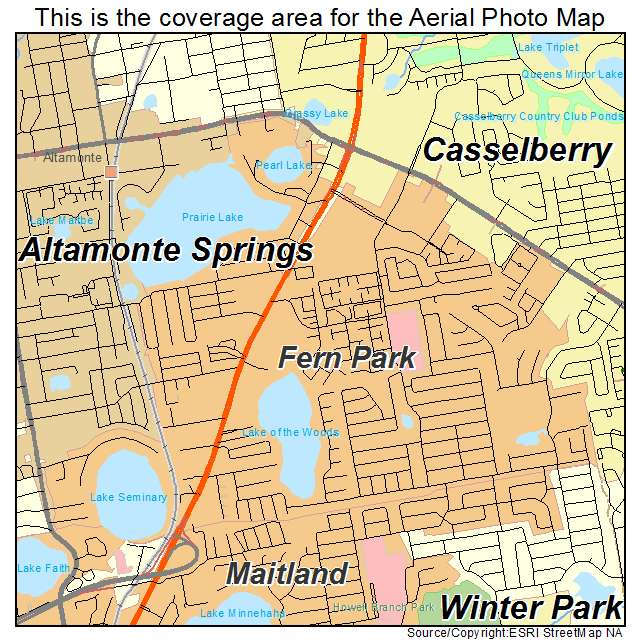 Aerial Photography Map Of Fern Park, FL Florida