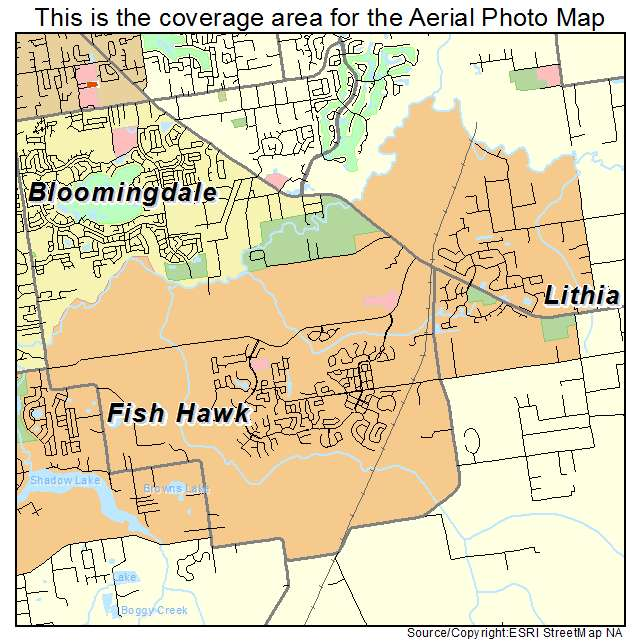 Aerial photography map of fish hawk fl florida for Fish hawk fl