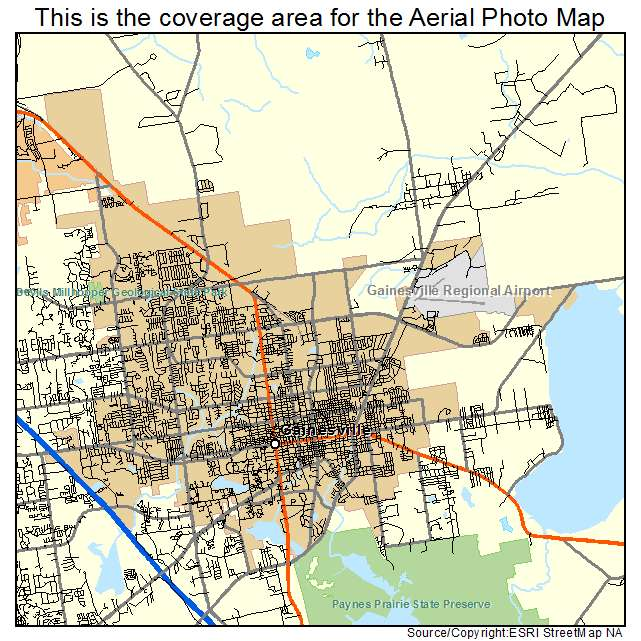 Aerial Photography Map Of Gainesville FL Florida