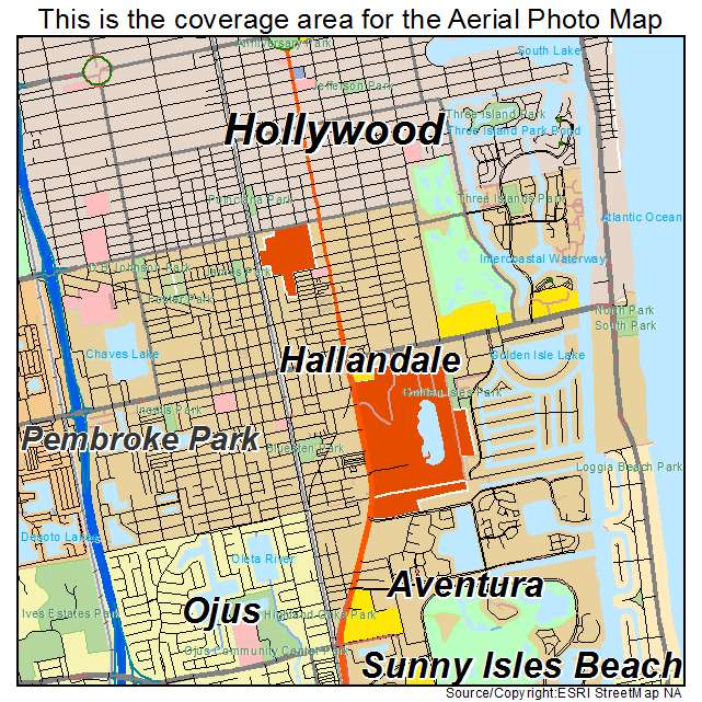 Aerial Photography Map Of Hallandale Fl Florida