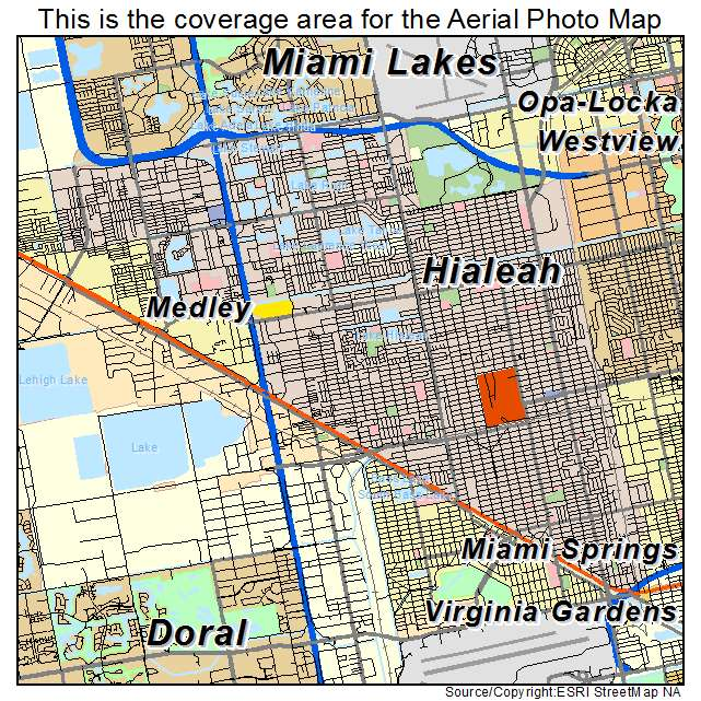Aerial Photography Map Of Hialeah Fl Florida