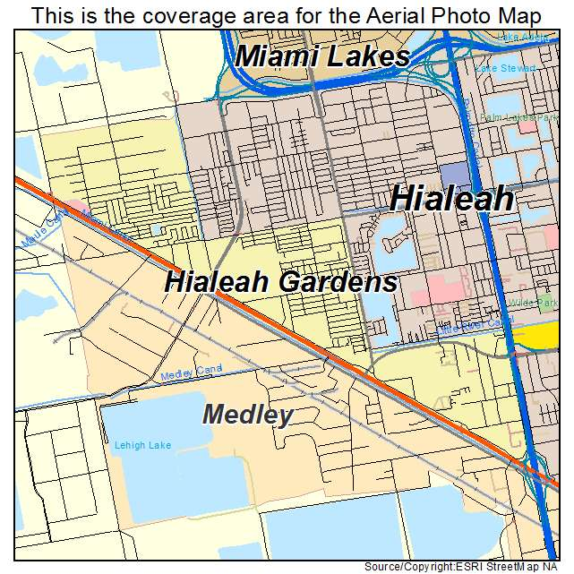 Aerial Photography Map Of Hialeah Gardens Fl Florida
