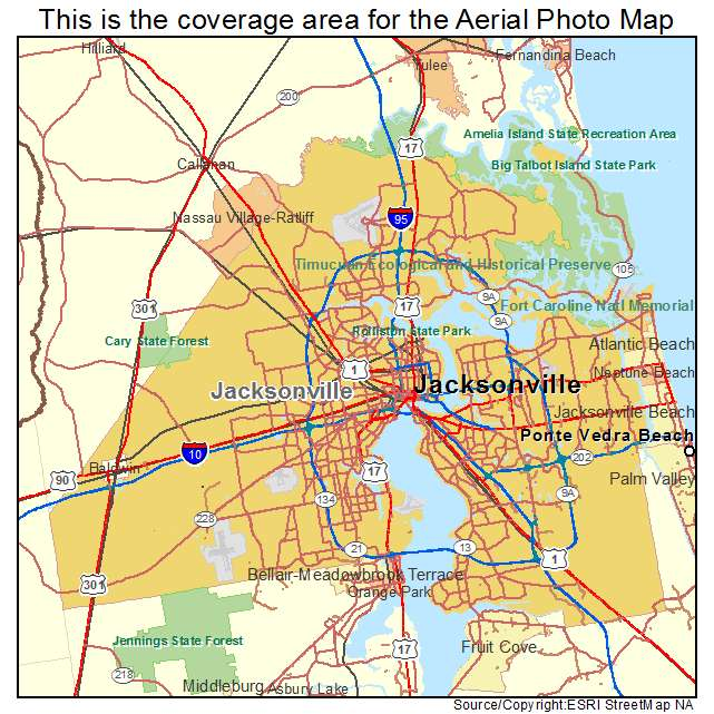 Aerial Photography Map of Jacksonville, FL Florida