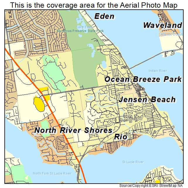 Aerial Photography Map Of Jensen Beach FL Florida