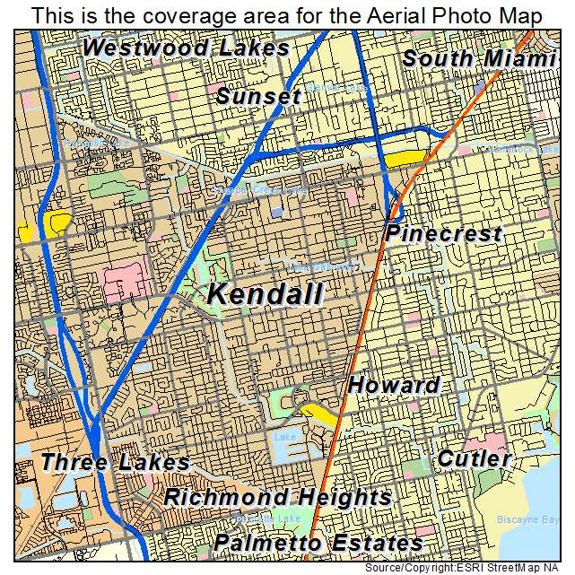 Aerial Photography Map of Kendall FL Florida