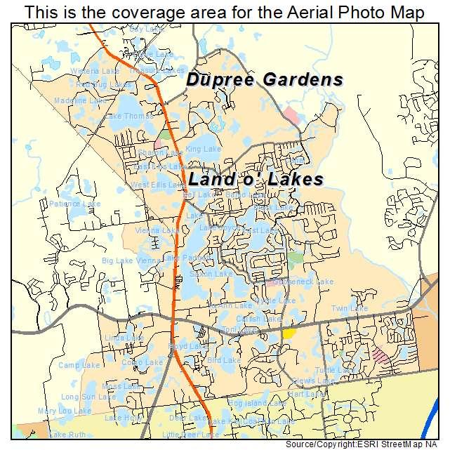 Aerial Photography Map Of Land O Lakes Fl Florida