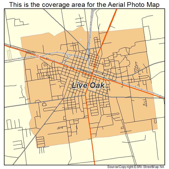Live Oak Florida Map Aerial Photography Map of Live Oak, FL Florida