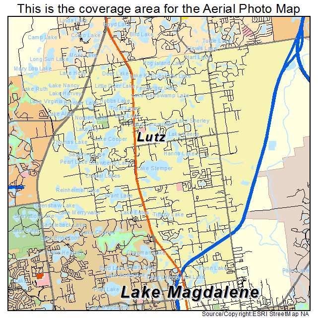 Aerial Photography Map Of Lutz FL Florida