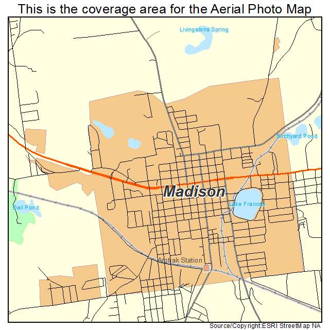 Aerial Photography Map Of Madison FL Florida