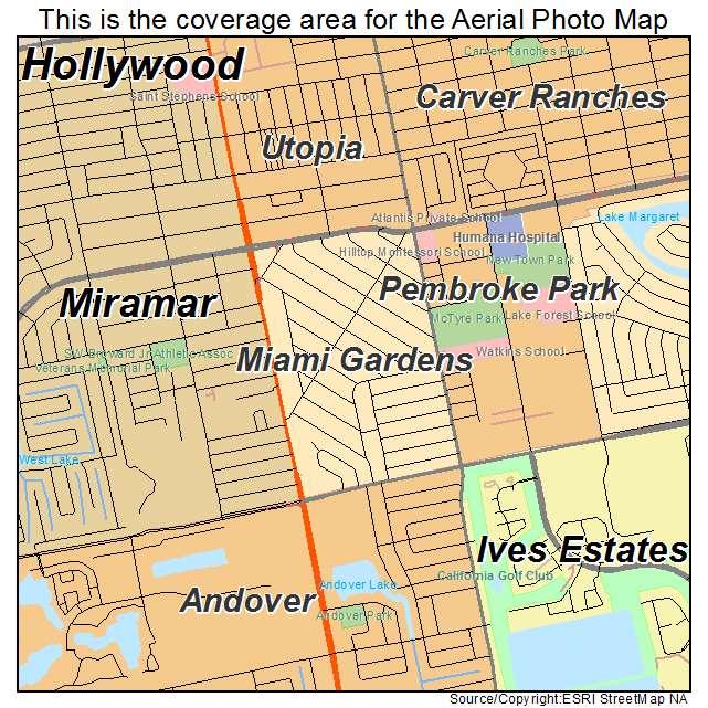 Aerial Photography Map of Miami Gardens FL Florida