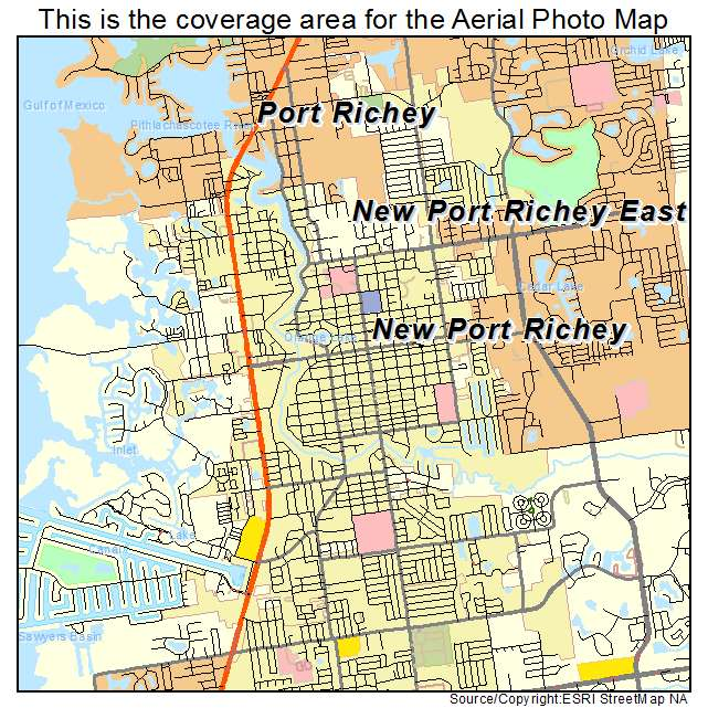 Map Of Port Richey Florida Aerial Photography Map of New Port Richey, FL Florida