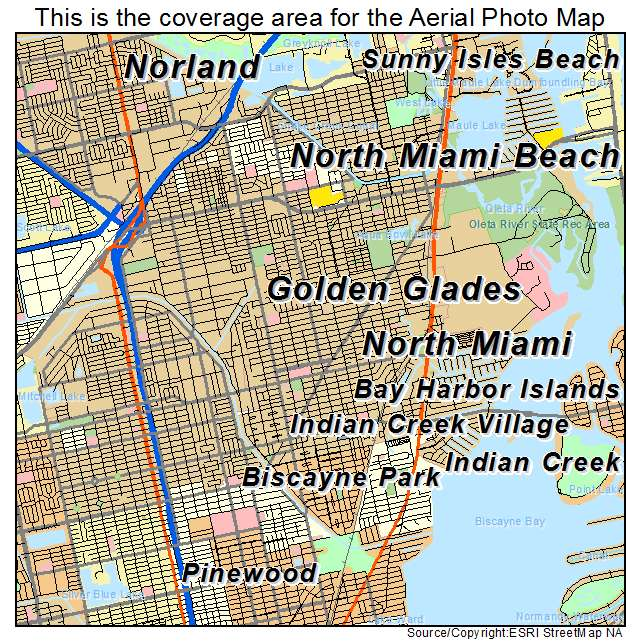 Aerial Photography Map Of North Miami, FL Florida